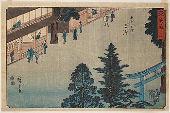 "UTAGAWA HIROSHIGE (1797-1858), after, colour woodblock print. Japan, ""Mishima"" 19th century."