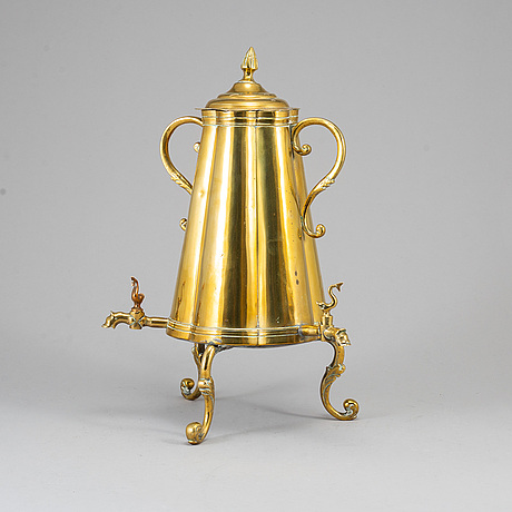 A 19th century brass tea urn.