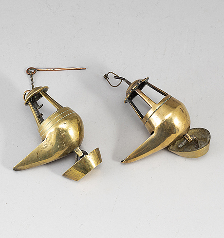 Two 18th century bronze oil lamps.