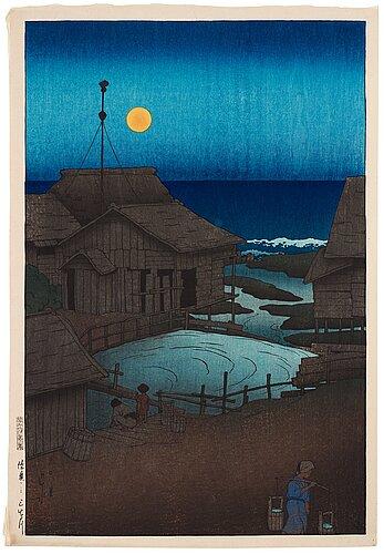 """Kawase hasui (1883-1957), colour woodblock print. japan, """"souvenirs of travel i""""."""