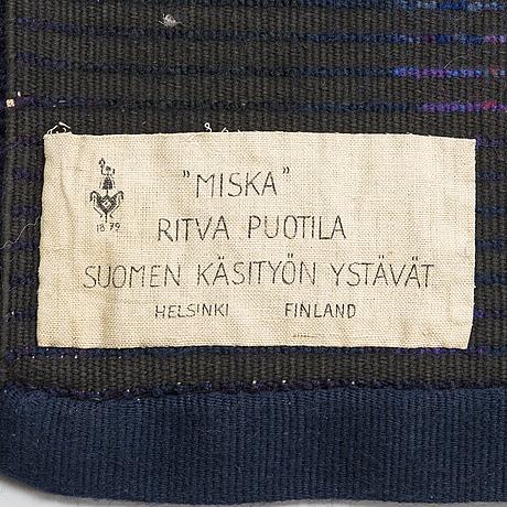 Ritva puotila, rya, för finska handarbetets vänner. ca 210x116 cm.