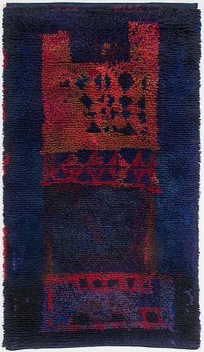 Ritva puotila, finnish ryijy rug for the friends of finnish handicraft. circa 210x116 cm.
