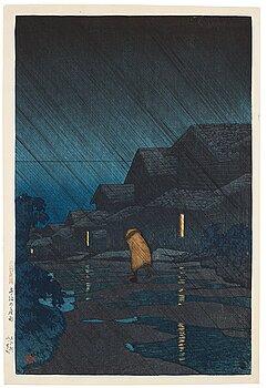 "628. KAWASE HASUI (1883-1957), colour woodblock print. Japan, ""Night Rain""."