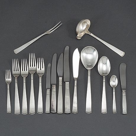 Jacob Ängman, 177 pieces silver cutlery model 'rosenholm'.