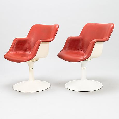 YrjÖ kukkapuro, a pair of late 1960's '417p' armchairs for haimi.