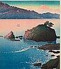 """Kawase hasui (1883-1957), color woodblock print. japan, """"souvenirs of travel i""""."""
