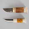 Ingvar svonni, two sami reindeer horn knives, signed i svonni.