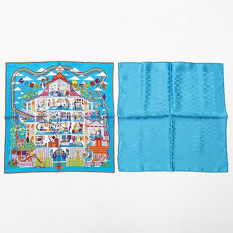 HermÈs, two pochette/gavroche scarves.