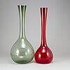 Arthur percy, two glass vases.