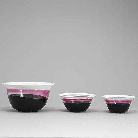 Erik hÖglund, three glass bowls from strömbergshyttan.