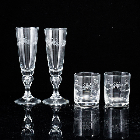 A set of 10 champagne glasses and 10 water glasses, sweden, 20th century.