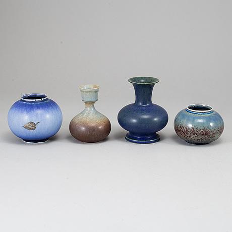Sven wejsfelt, a set of four stoneware vases, gustavsberg studio, sweden 1980's.