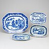 A set of four odd blue and white serving dishes, qing dynasty, qianlong (1736-95).