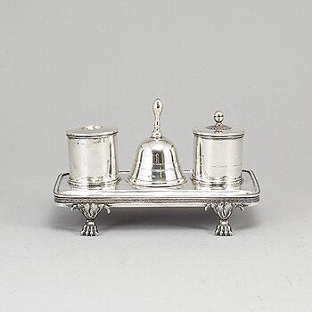 A Swedish 18th century silver writing-set, mark of Gustaf Åkerman, Stockholm 1824. Table bell marked PZ, Sthlm 1796.