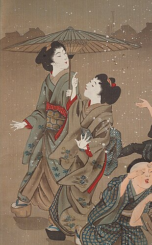 Six japanese scrolls, ink and colour on paper, meiji (1868-1912).