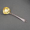 A swedish early 19th century silver sauce spoon, mark of pehr zethelius, stockholm 1807.