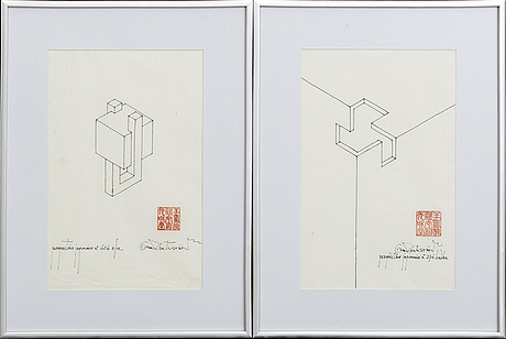 Oscar reutersvÄrd, ink on paper, two pieces, signed.