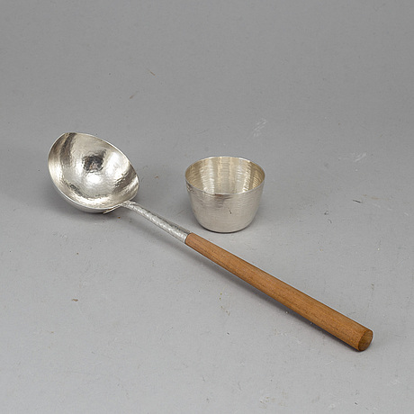 Tapio wirkkala, scoop and goblet, silver 1979 and 1989.