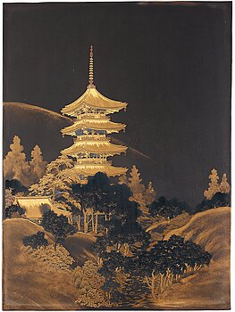 617. A Japanese lacquered and gilded metal panel, late Meiji, early 20th Century. Signed.