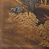 A japanese lacquered and gilded metal panel, late meiji, early 20th century. signed.