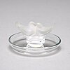 """Rene lalique, a cast glass box """"dahlia"""" and a dish """"deux colombes"""", france, post 1951."""