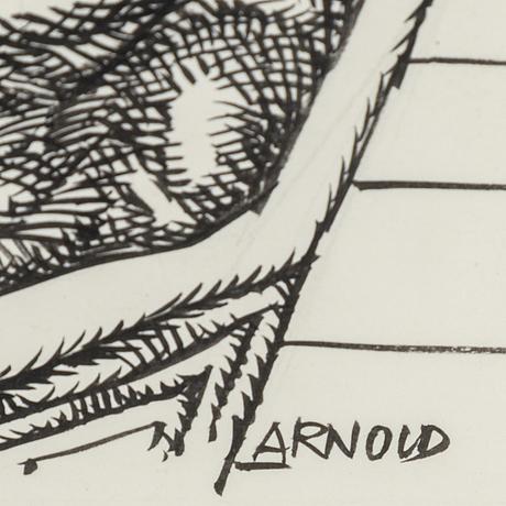 Hans arnold, tusch, signerad.