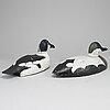 Two painted wood imitation duck,  first half of the 20th century.