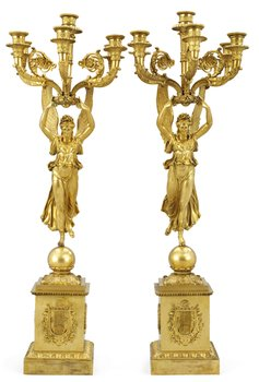 1022. A pair of French Empire six-light candelabra.