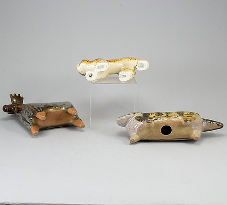 A group of three ceramic figurines of animals by lisa larson, gustavsberg.