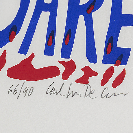 Carl johan de geer, silkscreen in colors, signed and numbered 66/90.