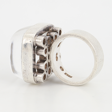 Cecilia johansson, a cabochon cut rock crystal ring made in göteborg 1966.