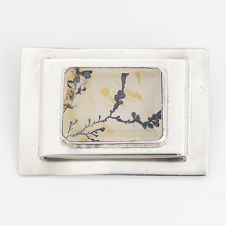 Cecilia johansson, a emerald cut moss agate brooch made in göteborg 1986.