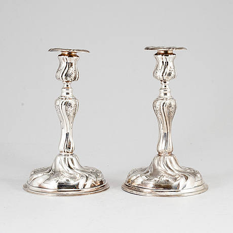 A pair of silver candle sticks, tesi, 1956.