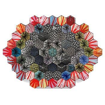 HEINI RIITAHUHTA, a porcelain hexagon relief 'Raisa' signed Heini Riitahuhta 2015.