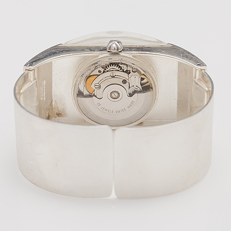 "BjÖrn weckstrÖm, a sterling silver and acrylic wrist watch ""aikarauta"". lapponia 1977, 31 mm."
