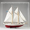 A painted wood ships model of swedish navy ship 'falken'.