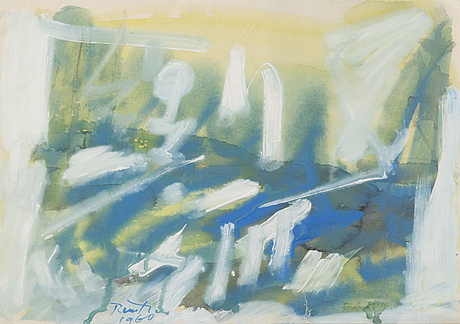 Eino ruutsalo, watercolor, signed and dated 1960.