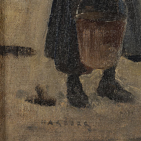 August hagborg, oil on canvas, stamped signature.