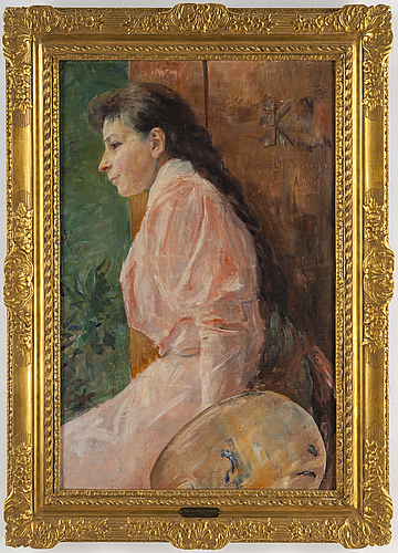 Mina carlsson-bredberg, oil on canvas, signed and dated arildsläge 189?.