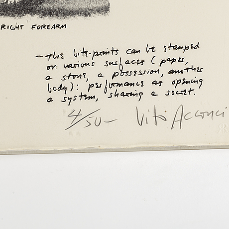 Vito acconci, lithograph, 1971, signed in pencil and numbered 4/50.