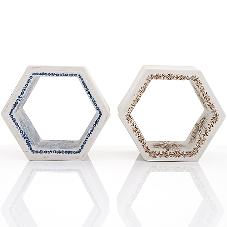 Rut bryk, two 1960s 'hexagon tile' sculptures for arabia, finland.