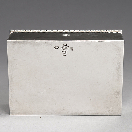 Georg jensen, a silver cigar box, model 195b, copenhagen 1919.
