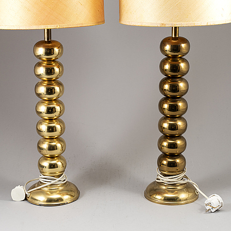 Uno dahlÉn, a pair of table brass lights, aneta, 1960/70s.