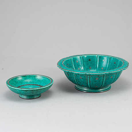 Wilhelm kÅge, two 'argenta' bowls, gustavsberg.