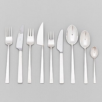 "BERTEL GARDBERG, a 108-piece set of ""Birgitta"" silver cutlery, marked BG, Hopeatehdas oy, Helsinki 1956-61."