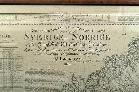 A swedish military map by lieutenant o.j hagelstam, 1820.