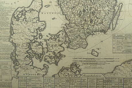 A swedish military map by lieutenant o.j hagelstam, 1820.