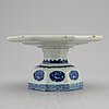 A blue and white footed dish, qing dynasty, late 19th/early 20th century.