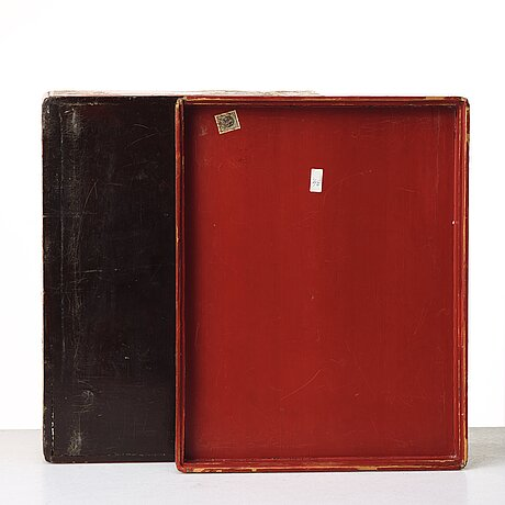 A red lacquered box with cover, qing dynasty, 19th century.
