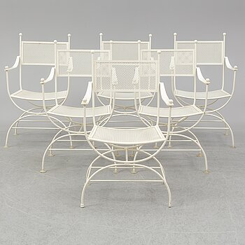 A set of six 20th century painted metal garden/patio chairs.